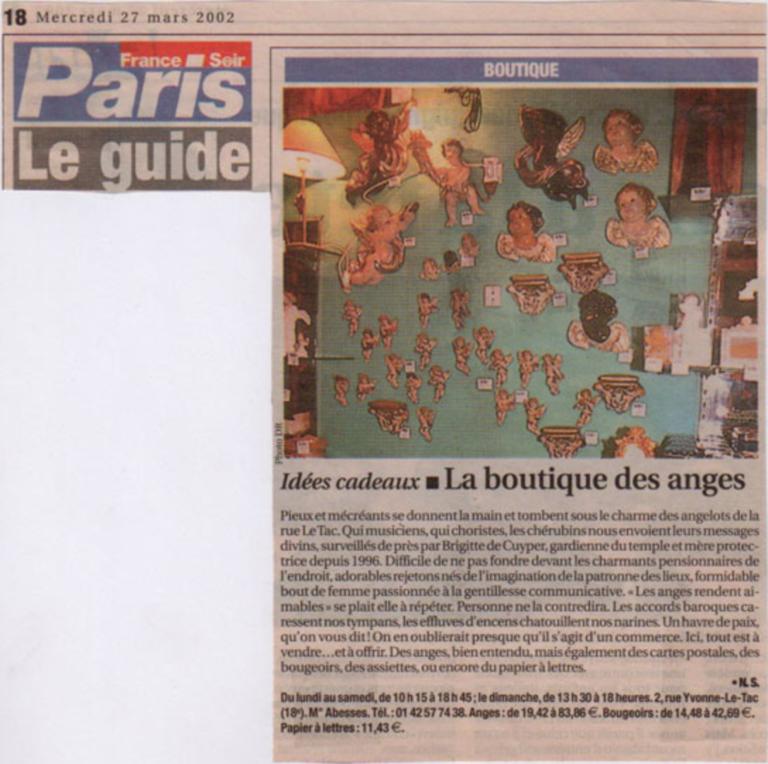 Article de France soir boutique des Anges 27/03/2002