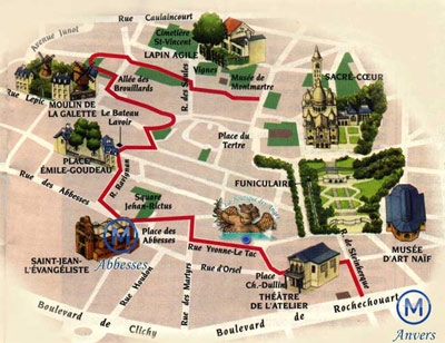 Plan Montmartre - Boutique des Anges